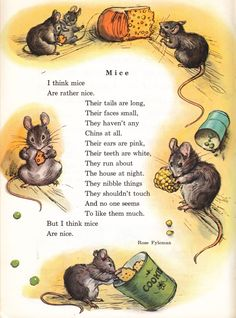 Mice poem by Rose Fyleman is part of Kids poems - Nursery Rhymes Poems, Nursery Songs, Poetry For Kids, English Story, Kids Poems, Cute Mouse, English Lessons, Stories For Kids, Teaching English