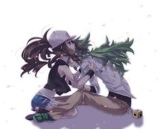 Hilda and N (Pokémon) Touko Pokemon, Pokemon Oc, Pokemon Manga, Pokemon Ships, Black Pokemon, Pokemon Fan Art, Cute Pokemon, Pokemon Stuff, Pokemon Images