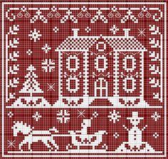 Schema punto croce paesaggio natalizio bicolore