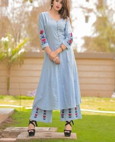 Cotton kurti with superb embroidery motives
