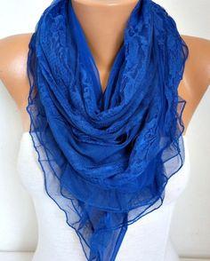 Royal Blue Lace Scarf Wedding Shawl  Hanukkah Gift Bridal