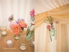 Hessian and Vintage Bottles. Styling and Floral design by www.inspire-hire.co.uk