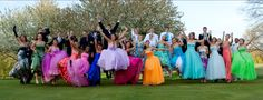 Prom group pose- that is the most colorful group ever