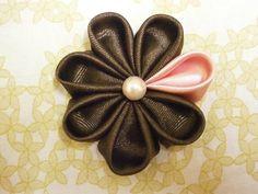 How to make kanzashi flowers, DIY ribbon flowers,tutorial,kanzashi flores de…