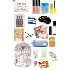 What is in my backpack? by luciannagonzalez on Polyvore featuring polyvore, beauty, Bobbi Brown Cosmetics, Maybelline, Tangle Teezer, Audiology, Glam Bands, Forever 21, Goody, Accessory Collective, Billabong, Herschel Supply Co., Rifle Paper Co, Mark's Tokyo Edge and Lilly Pulitzer