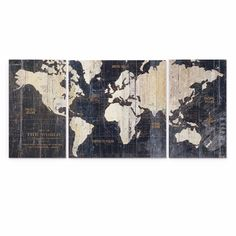 New Old World Map Gallery Wrapped Canvas Painting 3 Piece Set Wall Art Sculpture #Oldworldmap