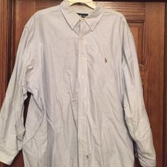 Mens Ralph Lauren dress shirt 17 1/2 34 sleeves Mens button down Ralph Lauren pinstripe shirt.  17 1/2 in neck 34 in sleeves. Smoke free. Ralph Lauren Shirts Casual Button Down Shirts