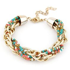 New 2017 Fashion Korean Fashion Bohemian Gold Chains Twisted Resin Beaded Bracelets Bangles for Women Jewelry