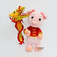 Prosperity Pig And Dragon Dance amigurumi pattern by Little Bamboo Handmade Crochet Pig, Crochet Dragon, Cotton Crochet, Crochet Animals, Crochet Dolls, Free Crochet, Crochet Toys Patterns, Amigurumi Patterns, Stuffed Toys Patterns