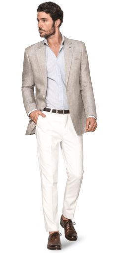 Linen Blazers for Men Blazer Outfits, Blazer Fashion, Mens Fashion, Fashion Suits, Casual Look For Men, Casual Chic Style, Casual Man, Mens Linen Jackets, Beige