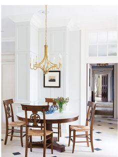 Mykonos Dining Room, Dining Table, Visual Comfort, Breakfast Nook, Mykonos, House, Chandeliers, Furniture, Home Decor