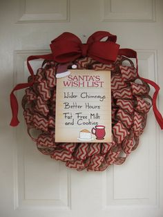 Christmas Red Chevron Burlap Ribbon Wreath with Santa Wish List and Faux Red Burlap Bow – Fall Wreath İdeas. Burlap Ribbon Wreaths, Diy Wreath, Santa Wreath, Wreath Making, Easy Fall Wreaths, Holiday Wreaths, How To Make Wreaths, Red Christmas, Chevron Christmas
