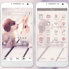 """""""Best Friends"""" 4/23 '15 Let this puppy and bunny duo melt your heart with this cute theme! http://app.android.atm-plushome.com/app.php/app/themeDetail?material_id=1240&rf=pinterest #cute #wallpaper #love #kawaii #design #icon #beautiful #plushome"""