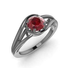 Round Ruby Ring in 14K Black Gold