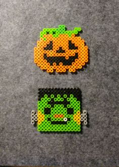 Pumpkin 🎃 and Frankenstein's monster Perler beads for Halloween Beading Patterns, Melty Bead Patterns, Pearler Bead Patterns, Perler Patterns, Perler Beads, Perler Bead Art, Fuse Beads, Halloween Art Projects, Halloween Patterns