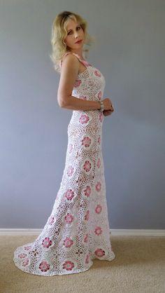 Платье крючком, вязание из мотивов #crochet_dress