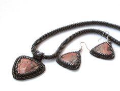 Pendant and earrings with jasper Jewelry set by DolgovaSvetlana