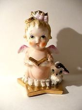 figurines of angels reading books   ... CHRISTMAS PORCELAIN ANGEL CHILD WITH BOOK AND LITTLE LAMB BUD VASE