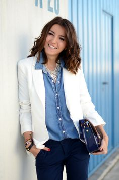 white blazer with denim shirt (if you do this, make sure your denim color washes are different).