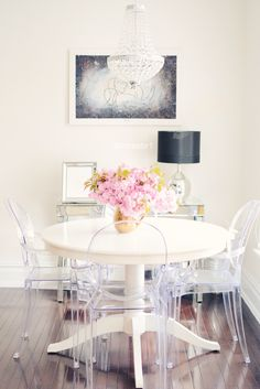 Customer designed | White dinning table, ghost chairs, brass accents from @homegoods