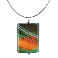 Sardonyx Sterling Silver and Stainless Steel Handcrafted Necklace