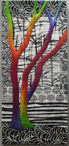 Exuberant Trees art quilt by Terry Aske