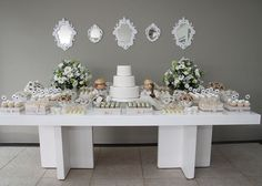 White and Beige Baby Shower Dessert Table
