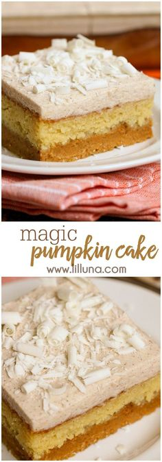 Pumpkin Magic Cake See for yourself why this 3 layer Magic Pumpkin Cake is so magical! A creamy pumpkin puree layer, yellow cake, and white chocolate pumpkin spice frosting topped with white chocolate shavings! Mini Desserts, Fall Desserts, Just Desserts, Delicious Desserts, Dessert Recipes, Dishes Recipes, Oreo Dessert, Pumpkin Dessert, Cupcakes