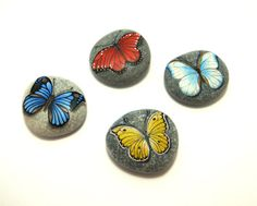 Yellow butterfly - hand painted rock