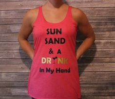 Shore to Please Designs - Sun Sand  & a Drink in my Hand Graphic Tee - Etsy - The Shop Gal