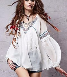 Vintage bohemian blouse Sleeve Style: lantern SleeveFabric Type: ChiffonMaterial: PolyesterCollar: V-NeckSleeve Length: Full Boho Fashion, Vintage Fashion, Womens Fashion, Boho Chic, Fashion Silhouette, Bohemian Blouses, Blouse Vintage, Vintage 70s, My Style