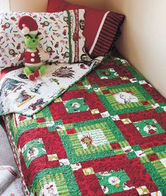 Don't let the Grinch steal your Christmas spirit. Make this twin size quilt featuring prints of scenes from the classic holiday story by Dr.Quilt designed by Chloe Anderson and Colleen Reale of Toadusew. Quilt size is 72 Nancy Zieman, Carpe Diem, Grinch Christmas, Christmas Ideas, Christmas Crafts, Christmas Blocks, Christmas Time, Christmas Placemats, Christmas Quotes