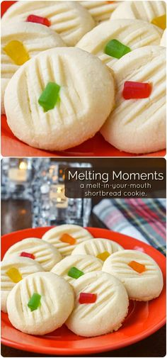 Melting Moments - a decades old family recipe for a truly melt in your mouth shortbread cookies. The one secret ingredient makes them so light, yet so buttery delicious! They freeze well and make outstanding The latest addition in our collection. Cookie Desserts, Cookie Recipes, Dessert Recipes, Cooking Cookies, Holiday Baking, Christmas Baking, Shortbread Cake, Shortbread Recipes, Melting Moments Cookies