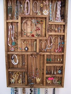 Reclaimed wood jewelry organizer large diy other pinterest jewelry display case handmade wood wall art for the home solutioingenieria Images