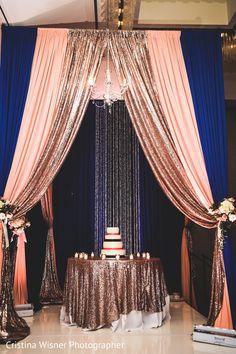 Cake Table Backdrop, Wedding Cake Table Decorations, Gold Backdrop, Indian Wedding Decorations, Stage Decorations, Indian Wedding Cakes, Floral Wedding Cakes, Blue And Blush Wedding, Burgundy Wedding