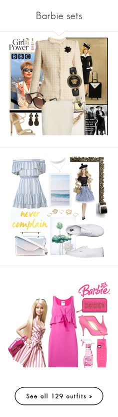 """Barbie sets"" by deborah-518 ❤ liked on Polyvore featuring Pan Am, Alexander McQueen, aB, Miss Selfridge, Trina Turk, Gucci, Versace, LoveShackFancy, Pottery Barn and Droog"
