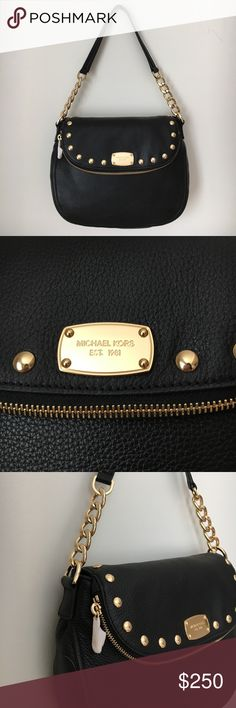 NWT MICHAEL KORS Purse - NWT MICHAEL KORS Black Leather Purse  - Black GENUINE leather purse with gold studded detailing as well as gold chain accents on handles and gold monogrammed plate and zipper. Comes with shoulder strap and monogrammed tissue paper.   - 100% guaranteed authentic    - NEW WITH TAGS Michael Kors Bags Shoulder Bags