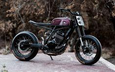 Custom Honda from Argentina's Lucky Customs, 'Cobra'. Mixing up tracker and motard styles. Kawasaki Cafe Racer, Cafe Racer Honda, Honda Scrambler, Cafe Racer Build, Cafe Racer Bikes, Cafe Racer Motorcycle, Motorcycle Style, Cbx 250, Tw 125