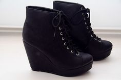 black wedge lace up booties