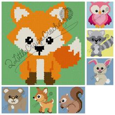 INSTANT DOWNLOAD-Woodland Animals-Fox-Owl-Bear-Deer-Squirrel-Raccoon-Bunny-Crochet Chart-Crochet Graph-Baby Blanket-Graph Pattern-C2C by 2LittleCraigsCrochet on Etsy https://www.etsy.com/listing/267286824/instant-download-woodland-animals-fox