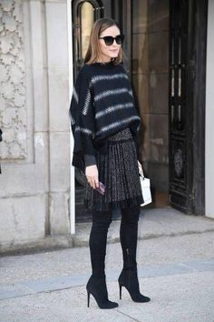 Olivia Palermo wearing The Volon Alice Bag and Jimmy Choo Turner Stretch Suede Over-The-Knee Boots