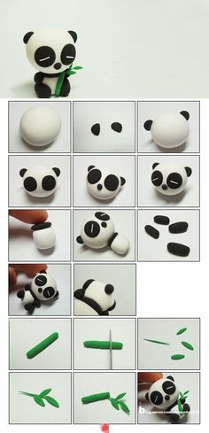 clay or marzipane panda tutorialpâte fimo Awh this is too cute xxx: # Eye shadow and eye colors # make-up # adjustment. Tuto Amigurumi – Sam the little bear –.Awh c& trop mignon xxx:Most inspiring pictures and photos!Panda - how to make a panda Polymer Clay Kunst, Cute Polymer Clay, Polymer Clay Animals, Cute Clay, Fimo Clay, Polymer Clay Projects, Polymer Clay Charms, Polymer Clay Creations, Clay Crafts