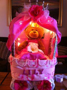 Princess Carriage Diaper cake  #craftyconjuring #diapercakes #princess carriage #princess diaper cake