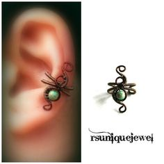 Wire Wrapped Small Ear Cuff Left Ear Cuff Green by rsuniquejewel
