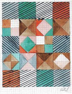 Gunta Stölzl - Bauhaus Master; Design for a carpet 1926 30x23 cm Victoria & Albert Museum, London