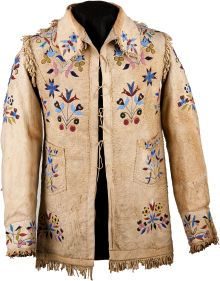 Quillwork by the Sioux Indians | SANTEE SIOUX PICTORIAL BEADED AND FRINGED HIDE JACKET. c. 1890 ...