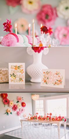 This combines a few of my ideas for the wedding. Rifle Paper Co. goods, giant paper flowers, and honeycomb decorations.