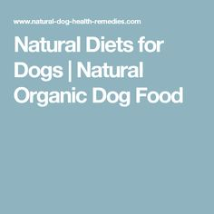 Natural Diets for Dogs | Natural Organic Dog Food