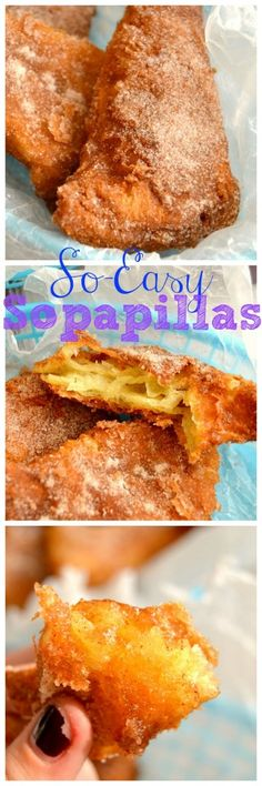 So-Easy Sopapillas - crispy fried crescent roll dough that's smothered in cinnamon sugar. Positively irresistible!