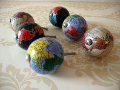 Globe Atlas World Map Drawer Knobs, Vintage Style Cupboard Handles Door Pulls Map Vintage, Vintage Globe, Vintage Style, Globes Terrestres, World Globes, Map Drawers, Cupboard Handles, Door Handles, Map Crafts